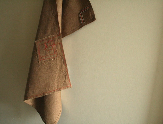 brown LINEN TEA TOWEL (last piece), kitchen towel, dish cloth. home living. kitchen. housewarming gift. ooak handmade by pamelatang