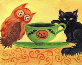 Owl and Cat Halloween Tea Party art 5 x 7 matte photo print whimsical nursery rhyme children storybook art spooky cute gothic