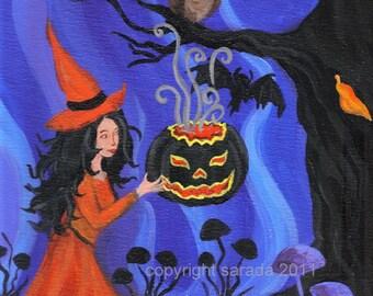 Black Lantern Spell, Halloween orange witch art print reproduction 5 x 7 gothic black pumpkin bats spooky tree blue and purple horror