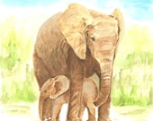 Notecards - My Elephant Print of My Own Watercolor Painting