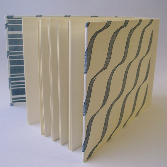 SALE: Linocut Photo Album in Marine Ripple (Small)