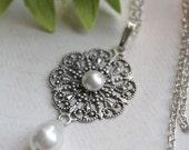 Natalia Necklace - Bridal - Wedding - Swarovski Creme Pearls - Silver Filigree
