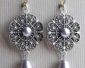 Natalia Earrings - Bridal - Wedding - Bridesmaid - Swarovski Lavender Pearls - Silver Filigree