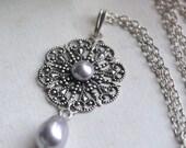 Natalia Necklace - Bridal - Wedding - Bridesmaid - Swarovski Lavender Pearls - Silver Filigree