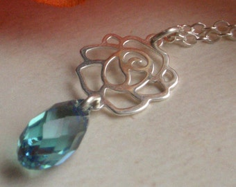 Rose Necklace - Sterling Silver & Swarovski