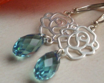 Rose Earrings - Sterling Silver & Swarovski - Bridesmaids Jewelry