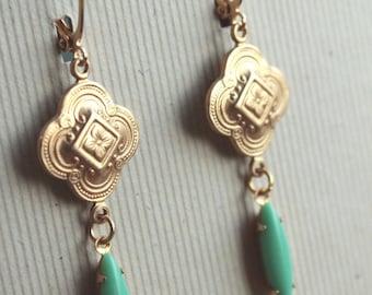 Gwen Earrings - Brass - Vintage Glass