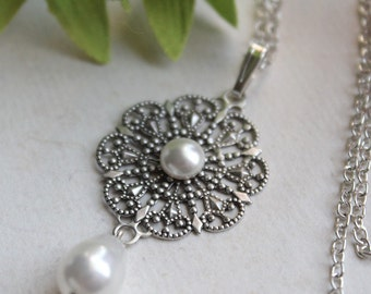 Natalia Necklace - Bridal - Wedding - Swarovski Creme Pearls - Silver Filigree