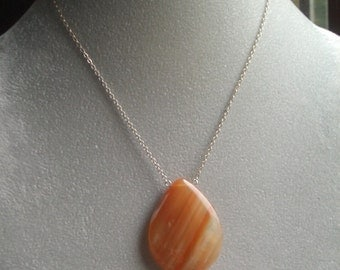 Orange Agate Necklace - Sterling Silver Chain