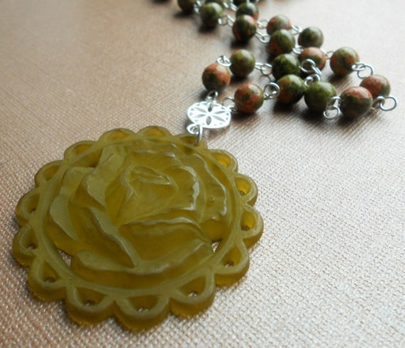 Unakite and Lucite Necklace - Sterling Silver
