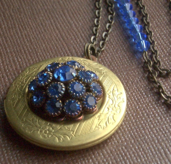 Brass Locket Necklace - Blue Crystal