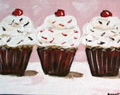 Cupcake Trio - Pink and white and a cherry on top - 5 x 7  Original Acrylic
