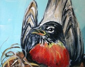Robin Redbreast in Her Nest - 5 x 7 Original Acrylic on Canvas - RESERVED