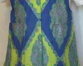 Polyester Paisley 60s style apron