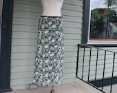 Floral Maxi Skirt Teal and Brown