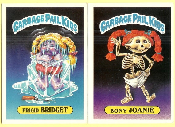 SALE - Vintage Garbage Pail Kids Two Large - TOPPS Chewing Gum trading cards - Bony Joanie and Fridget Bridget