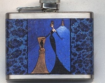Custom Flask, Woman and Cat Flask, Horse Flask, Fashion Illustration Sparkly Flask, Gift for Her, Personalized Barware, Pet Lover Gift SHANO