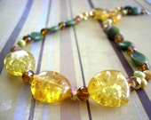 Reserved for Magnetic Creations SALE gorgeous amber and jade necklace with pearls and crystal