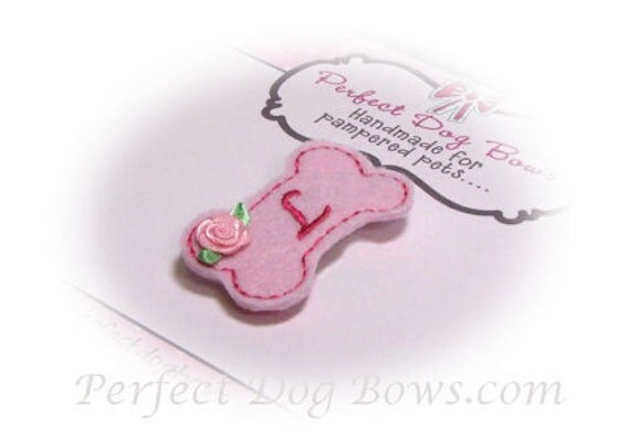 Dog Bow - Personalized Dog Bow - Felt Dog Bow - Pink Dog Bow - Girl Dog Bow - Feltie - Clippie - Small Dog Bow - Dog Bow Tie, Barrette