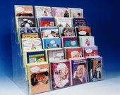"""Note Greeting Card Display Rack New Acrylic 6 Tier 24"""" Counter Rack  Fits Most Size Cards"""