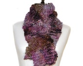 Pretty Purple Wool and Silk Knit Scarf      Reserved for Anne