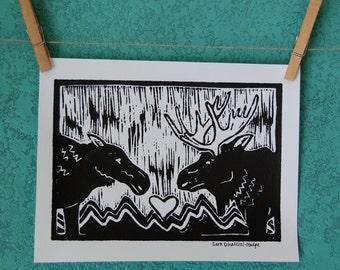 MOOSE LOVE - linocut print