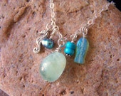 FLOAT ONWARD - Aquamarine, Turquoise, and Pearl Charm Necklace