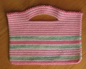 Pink and white purse with a touch of green - Very cute