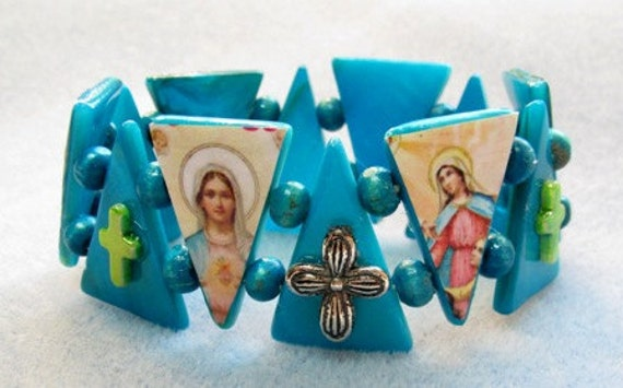 SALE - Was 25.00 - Now 18.00 - Virgin Mary Teal Stretch Boutique Crucifix Bracelet Catholic