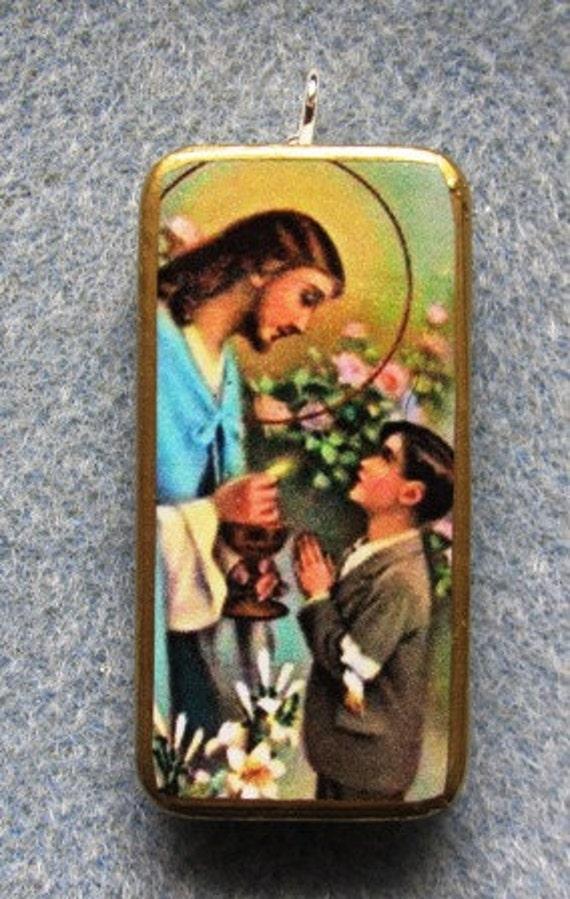 Holy Communion Jesus BOY Catholic Art Recycled Domino Pendant Necklace HC2