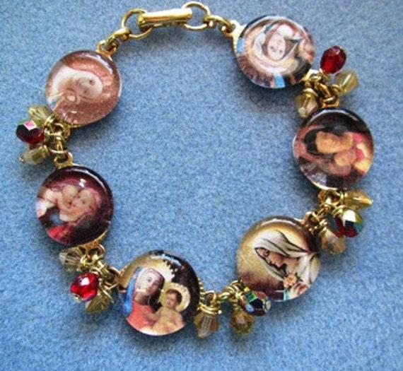 Catholic Virgin Mary Gold Red Crystal Portrait Link Bracelet Handmade