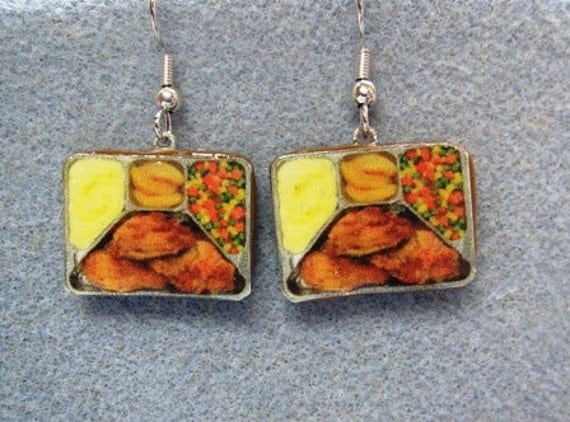 Fried Chicken Mashed Potatoes TV Dinner Kitsch Dangle Polymer Clay Junk Food Earrings Hypo Allergenic Nickle-Free