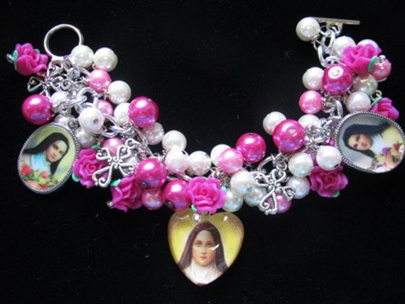 St. Therese Lisieux Pink White Pearls Roses Cross Charm Bracelet Earrings Set
