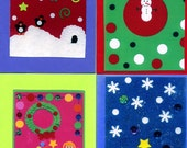 four Holiday greeting cards