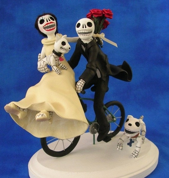 day of the dead wedding cake topper bride and groom custom day of the dead wedding cake topper 13361