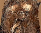 Zombie Grizzly Mask Man undead zombie walking dead shabby chic horror bear anthropomorphic art drawing poster print