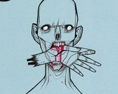 Hang In There Zombie undead horror terror scary zombie walking dead blood gore morbid tinted drawing art  print