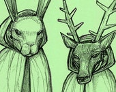 Masquerade of Molmacha two color animal mask rabbit deer anthropomorphic spooky story drawing art print