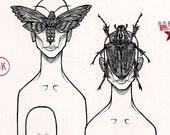 MOTH MASK AND BEETLE MASK print reserved for StormyLlewellyn