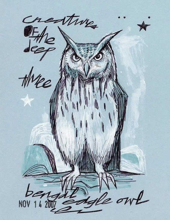 FOUR OWL COLLECTION full color mini prints