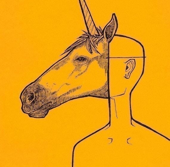 Unicorn Mask two color fantasy animal anthropomorphic mask art drawing print
