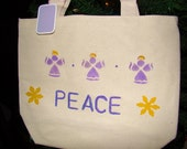 Peace Angels tote canvas gift bag