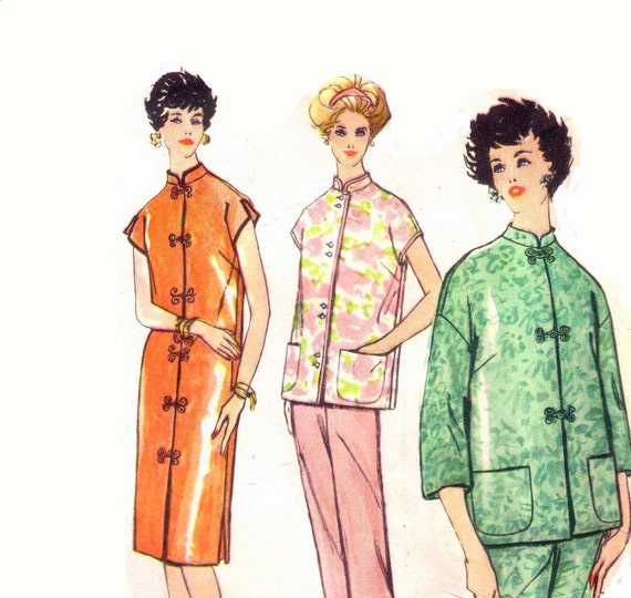 50s Asian Style Pajamas and Robe vintage pattern 36-28-38 PJs