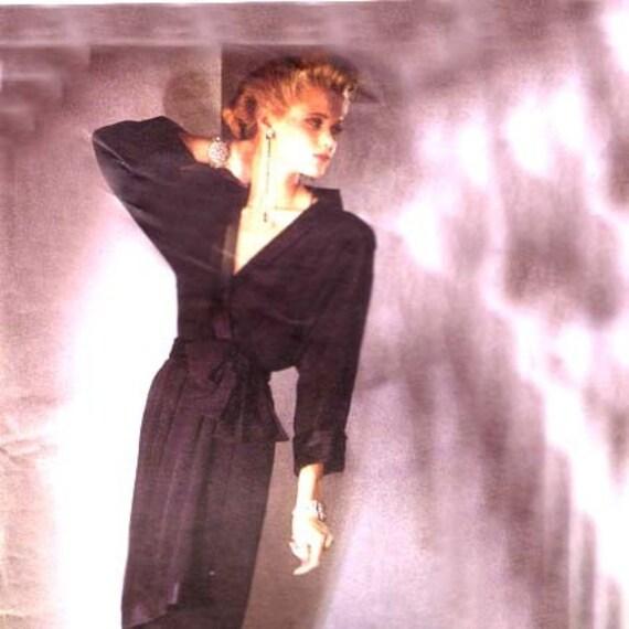 80s Designer YSL Wrap Dress  vintage pattern 34-26/5-36 uncut Vogue Yves Saint Laurent