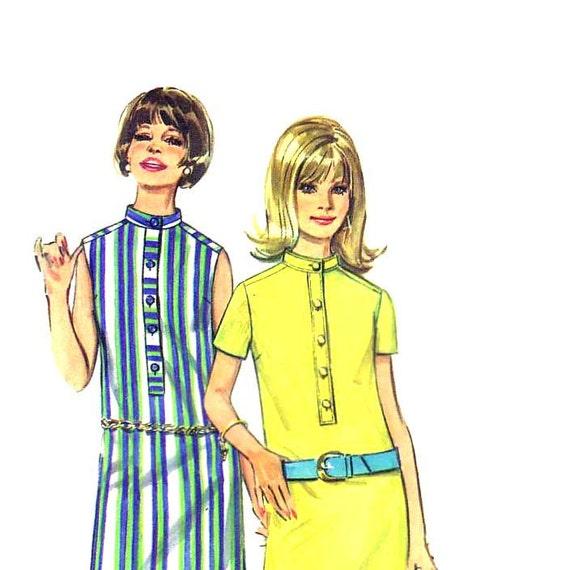 60s Mini Shirt Dress vintage pattern 34-25.5-36 sheath