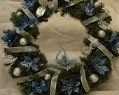 Blue and Silver Christmas Wreath On Hold for Hello Lovely