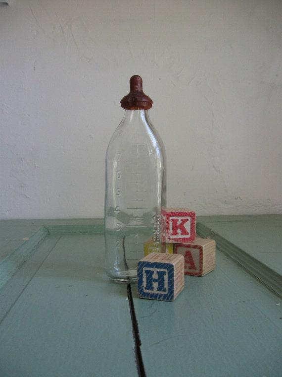 vintage glass baby bottle with nipple. Black Bedroom Furniture Sets. Home Design Ideas