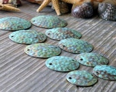 AGB artisan copper jewelery findings dimpled discs verdigris patina 19mm Adonia 2 pieces