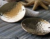 AGB gold filled artisan jewelry findings textured 29mm domed discs Despina 2 pieces