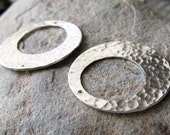 AGB artisan sterling silver jewelry findings 26mm textured circle offset washers Helena 2 Pieces